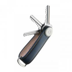 Orbitkey 2.0 Leather Key Organiser (Navy/Tan)