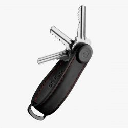 Orbitkey 2.0 Crazy Horse Leather Key Organiser (Obsidian/Red)